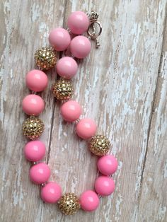 Pink and gold ombré chunky necklace.. Chunky bead by GirlzNGlitter