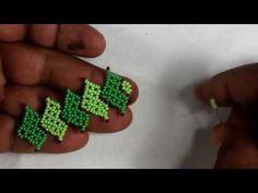 TIRA PARA COLLAR CON HOJAS - YouTube Beading Projects, Beading Tutorials, Beading Patterns, Beaded Necklace Patterns, Beaded Jewelry Designs, Bead Crafts, Jewelry Crafts, Crochet Flower Tutorial, Jewelry Making Tutorials