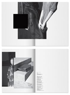 Rick Owens – PRECO F/W 12 I like the way of using two pages as one page. Graphic Design Layouts, Book Design Layout, Print Layout, Mise En Page Lookbook, Mode Lookbook, Lookbook Layout, Lookbook Design, Typography Layout, Graphic Design Typography