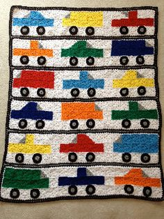 Baby or Toddler Boy Crocheted Afghan Blanket. Bright Colored Trucks. XL Afghan You Will Cherish. Baby Shower Gift. Free Shipping