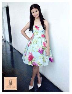 Liza Soberano is all pretty in a Mariane Perez cocktail dress with peony print. #ladylike #cocktail #cocktaildress #dress #fashion #designer #floral #peony #peonies #pink #blue #pastels #prom #promdress #cute #garden