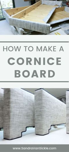 Learn how to make a cornice board. Cornice boards are simple, tailored window treatments that will dress up your windows! Learn how to make a cornice board. Cornice boards are simple, tailored window treatments that will dress up your windows! Curtain Pelmet, Cornice Box, Window Cornices, Cornice Boards, Valance Window Treatments, Window Treatments Living Room, Diy Curtains, Window Coverings, Cornice Ideas