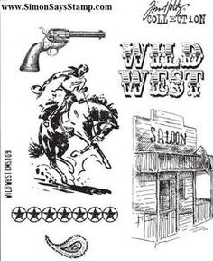 The Wild West Cling Mounted Rubber Stamp Set was designed by Tim Holtz for Stampers Anonymous. Use the six stamps for a variety of projects. Tim Holtz Stamps, Digi Stamps, Online Scrapbook, Scrapbook Supplies, Digital Scrapbooking, Wild West Theme, Cowboy Theme, Western Theme, Western Art