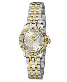 RAYMOND WEIL Watch, Women's Swiss Tango Diamond (1/5 ct. t.w.) Two-Tone Stainless Steel Bracelet 28mm 5399-SPS-00657 - All Watches - Jewelry & Watches - Macy's
