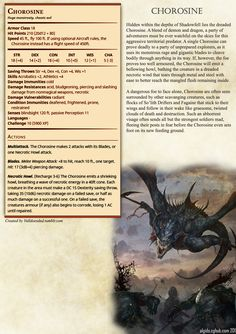One of my favourite Homebrews to date, I'd say. Chorosone demon dragon shadowfell stats