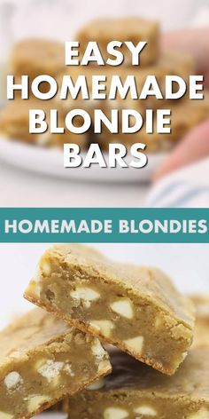 Homemade blondies come together in a snap! They're perfectly buttery and chewy with plenty of brown sugar and vanilla flavor. #easyblondierecipe #blondebrownie
