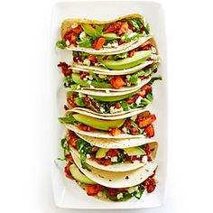 Sweet Potato and Chorizo Tacos  http://www.myrecipes.com/recipe/sweet-potato-chorizo-tacos-50400000133216/