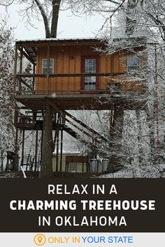 Relax in this beautiful cabin in the trees! Upgrade from camping to glamping at this Oklahoma resort. It's a peaceful, secluded place, surrounded by nature with all the amenities you need for a romantic getaway, staycation with friends, or weekend vacation with family. One of the best local destinations year-round, we love it in the winter. Winter Camping, Winter Fun, Winter Travel, Winter Weekend Getaways, Weekend Vacations, Oklahoma Cabins, Travel Oklahoma, Treehouse Cabins, Rock Creek