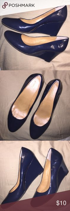 Dress Barn, Navy Blue , wedge shoes 9 Wide Pair of navy blue, wedge heel shoes size 9 wide. Worn once! Dress Barn Shoes Wedges