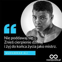 """""""Nie poddawaj się.  Znieś cierpienie dzisiaj  i żyj do końca życia jako mistrz"""". -  Muhammad Ali   #rosnijwsile #rozwój #motywacja #sukces #pieniądze #biznes #inspiracja #boks #sentencje #myśli #marzenia #życie #aforyzmy #quotes #cytaty Muhammad Ali, Body Under Construction, Typography Quotes, Life Motivation, Self Improvement, Sentences, Life Is Good, Thoughts, Humor"""