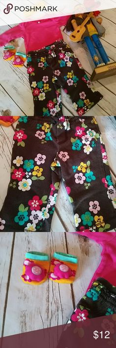 Hippy baby bundle. 4 pieces. Love this little outfit. Flower power pants and socks with a long sleeve onesie and cool yellow headband. Lightly used but good condition. Carter's Matching Sets