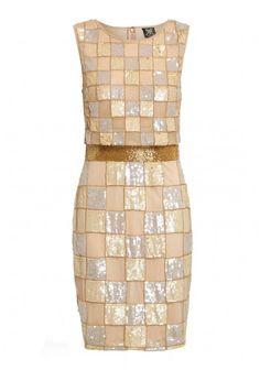Ruby Ray Beaded Mesh Waist Midi Dress in Gold