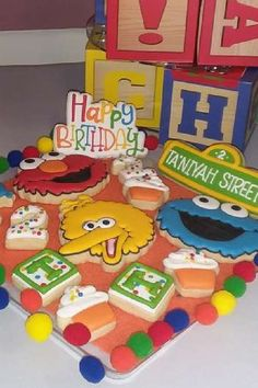 Take a look at this fun Sesame Street birthday party! The cookies are fantastic! See more party ideas and share yours at CatchMyParty.com#catchmyparty #partyideas #sesamestreet #cookies #sesamestreetparty #boybirthdayparty Sesame Street Cookies, Sesame Street Party, Sesame Street Birthday, Girl Birthday, Birthday Parties, Elmo Cake, Cookie Monster Party, 1st Birthdays, Food Ideas