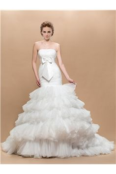 Appliques Trumpet/Mermaid Sleeveless Zipper-up Floor-Length Elegant & Luxurious Bowknot Fall Wedding Dress