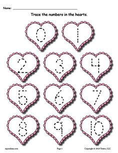 Valentine's Day Number Tracing Worksheet Numbers 0-10