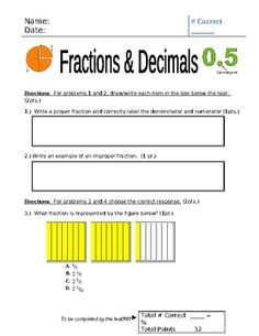 Here's a 4th grade unit assessment for fractions and decimals.