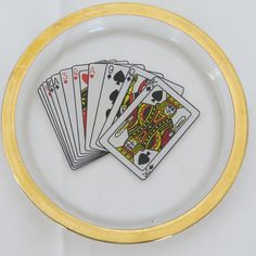 Vintage Bridge Poker Coasters Ashtrays Nut Dishes with Playing Card Design - Set of 4 - Glass Gold Trimmed Game Night on Etsy, $15.99