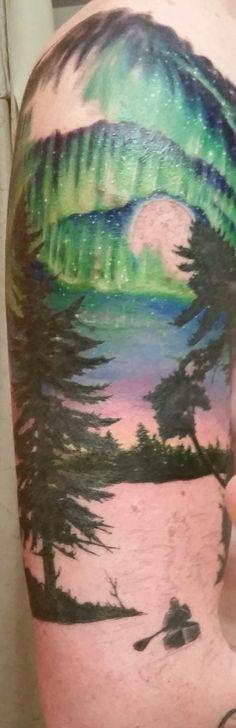 session04 canoe tree silhoute skyline dusk lake treeline northern lights aurora borealis tattoo sleeve independentink fargo justinzaun