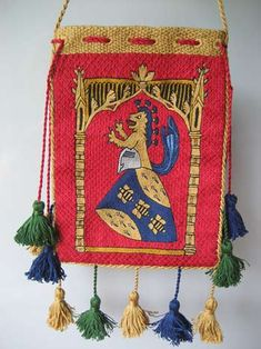 Embroidered Lovers' Purse - with great documentation & tutorial