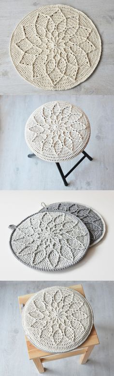 Mimimalist Cabled Mandala. Pattern via Ravelry for $4.50. One crochet pattern with many useful possibilities! Because who can ever think of what to do with their mandalas?!