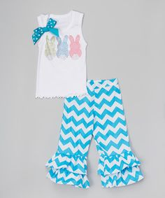 This White Bunny Tank & Turquoise Chevron Ruffle Pants - Toddler & Girls is perfect! #zulilyfinds