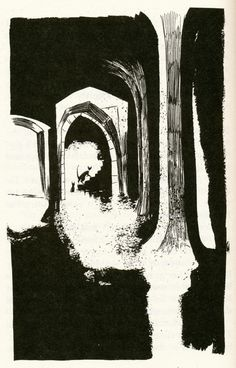 """It was dark in there. It got darker with every step. The air grew closer, warmer, as they went further in. Soon it was so dark, Varjak couldn't see any more. He could only feel the sewage, splashing his fur. It was oozing into his skin, bubbling around his legs, getting deeper all the time.""  Illustration by Dave McKean  From The Outlaw Varjak Paw by SF Said"