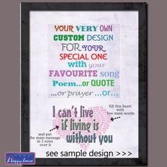 Custom love gift  Song Lyrics Love quote with by HappyHouseNo1