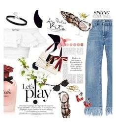 """""""Fringe Jeans for Spring 2016."""" by thenewshe ❤ liked on Polyvore featuring Valentino, Alexander McQueen, Deborah Lippmann, Elizabeth Arden, Gucci, 3x1, LSA International, Dolce&Gabbana, Kendra Scott and Christian Dior"""