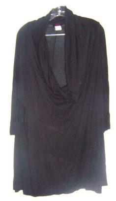 e134929012794 Plus Size XL-3X ~ 3 Way Poncho Black Roll Up Neckline Poncho Top
