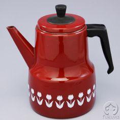 ほうろうコーヒーポット (赤にチューリップ) (デンマーク製) Fukuya - 20th Century Modern Design -