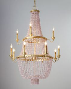 Pink chandelier  you can just see this beautiful light fitting hanging from an ornate ceiling #lighting