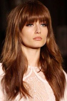 Long Layers Hair with Blunt Bangs