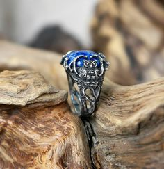 Unique Sterling Silver Gemstone Ring Lapis Lazuli by BlackTreeLab