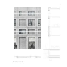 Morger Dettli Architekten winners of the Zurich Depot Hard competition. Section Drawing Architecture, Architecture Building Design, Concrete Architecture, Architecture Graphics, Facade Design, Architecture Details, Modern Architecture, Architectural Section, Architectural Drawings