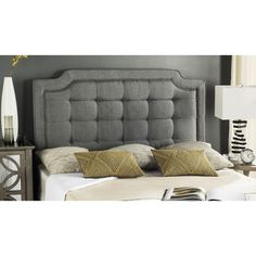 Safavieh Saphire Grey Upholstered Tufted Headboard (Queen)
