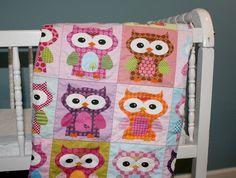 Pink Hoot Hoot Owl QUILT by PETUNIAS  baby blanket by PETUNIAS
