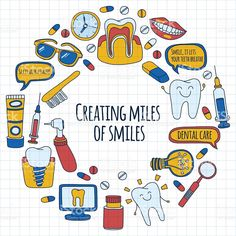 Dentistry Vector doodle set of icons Children dental care Hand drawn.