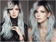 STEEL roots + SILVER-GREY & PASTEL ends hair color. _ My kind of trend for 2013 <3 and I'm on it... LOL [ The genious behind this: Jean Baptiste Santens, runway hair designer from Viktor, Ferragamo, Givenchy & Gucci ].