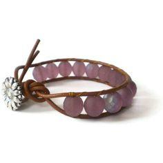 beaded leather wrap bracelet single wrap amethyst by jcudesigns, £13.00