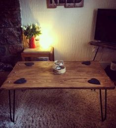 Industrial Retro Coffee Table Reclaimed Rustic Wood Hairpin Legs