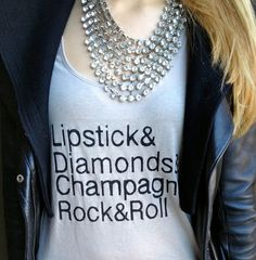 FREE SHIPPING- Lipstick, Diamonds, Champagne, Rock and Roll Tank, Hipster Tank, Hipster Fashion Shirt (women, teen girls).