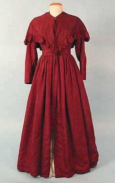 1840 Pioneer Clothing | 1830s Plum Silk Pelisse & Capelet