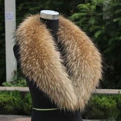Real Raccoon Fur Collar Genuine Raccoon Scarf Shawl Wrap Length 80 Cm for sale online Fur Collar Jacket, Pompom Scarf, Knitted Cape, Sweater Scarf, Neck Wrap, Fur Collars, Neck Warmer, Scarf Styles, Womens Scarves