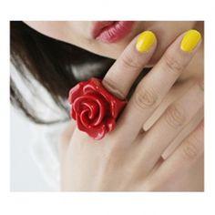 Corean Lovely and Romantic Style Rose Shape Design Finger Ring