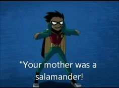 Robin and his witty comments, something you don't get in Teen Titans Go!