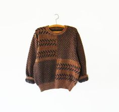 Mens Vintage Geometric Sweater / Chocolate Brown by thehappyforest, $46.00