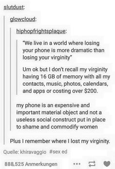 This truthful conversation about virginity.   21 Times Tumblr Got Really Awkward About Sex