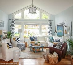 Navy and White Cozy Coastal Living Room Refresh at thehappyhousie.com-13