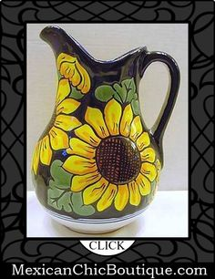 Mexican Decorations - Mexican Talavera - Home Decor - Mexican Art - Mexican Folk Art - Home Decorating Accessories ♥ Mexican Talavera Large SUNFLOWER PITCHER Hand Painted Pottery $49.99