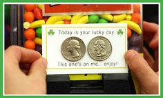 This is the perfect St. Patrick's Day activity! Free printable cards that you can attach coins to, and place on vending machines! Changing others luck one person at a time. #st.patricksday